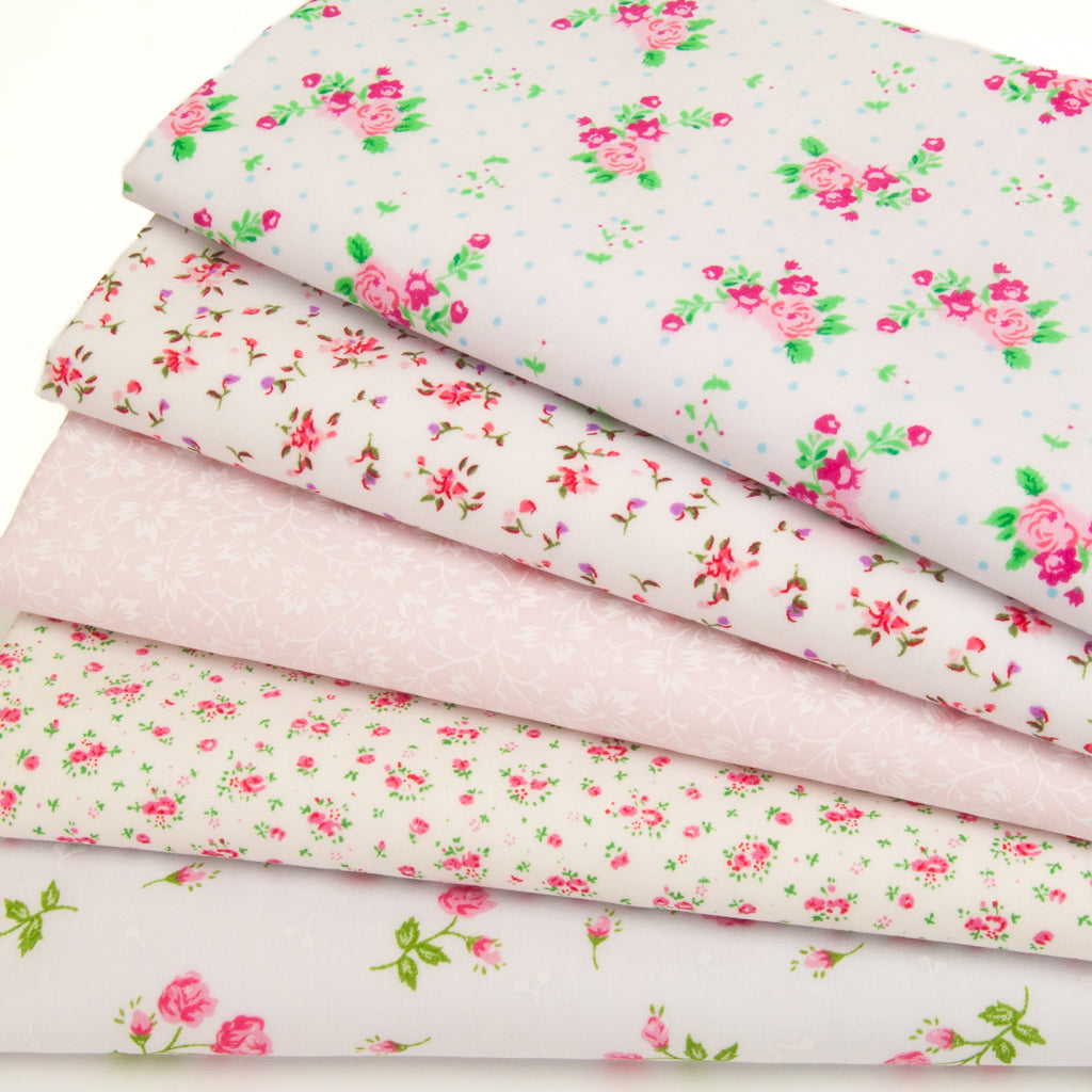 Vintage Pink Florals - Fat Quarter Bundle of 5 Polycottons
