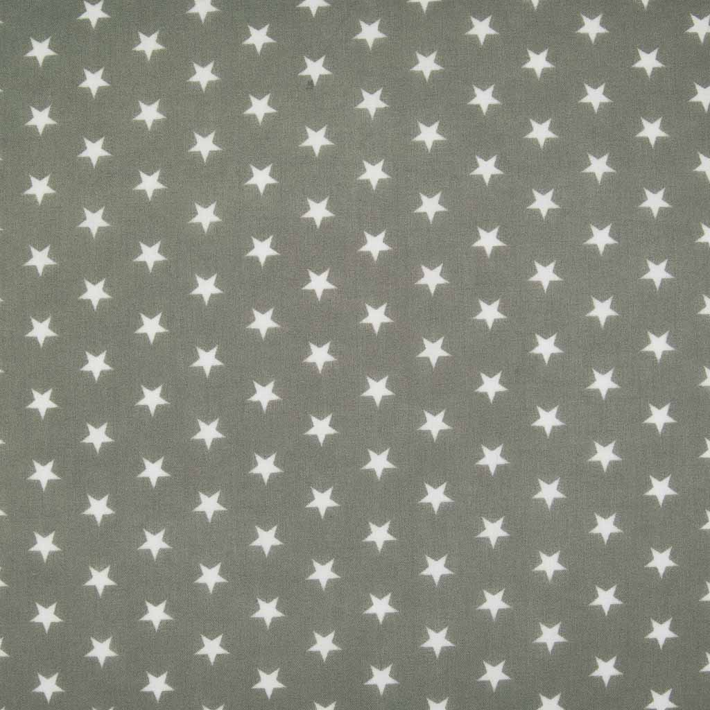10mm white stars are printed on a grey polycotton fabric