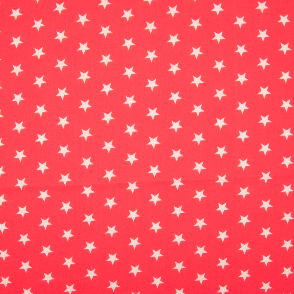 10mm white stars are printed on a red polycotton fabric