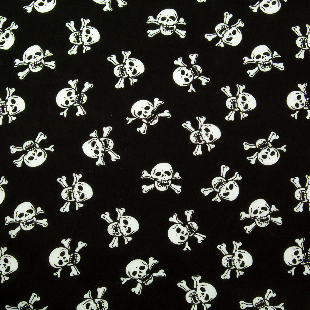 White Skulls on Black Polycotton