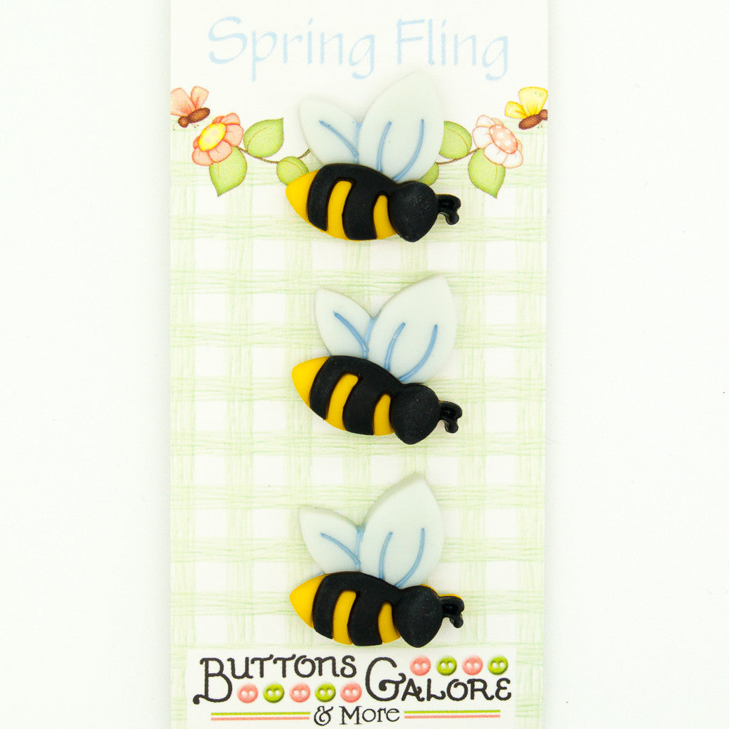 Busy Bumble Bees - Buttons - Pack of 3