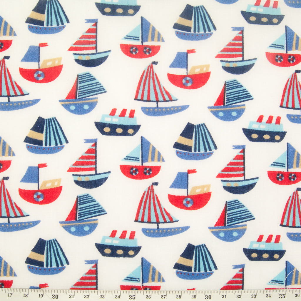 Blue & Red Boats - Polycotton Fabric