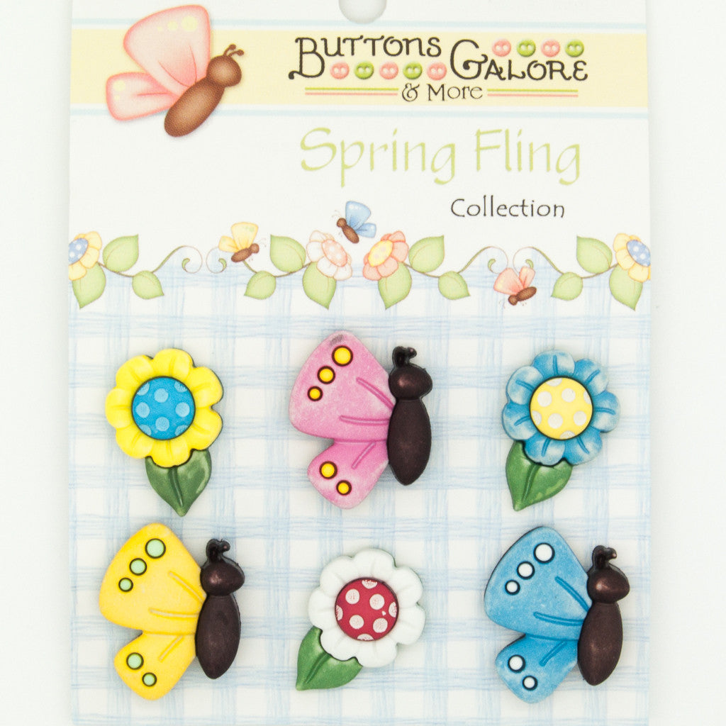Butterflies & Daisies - Buttons - Pack of 6