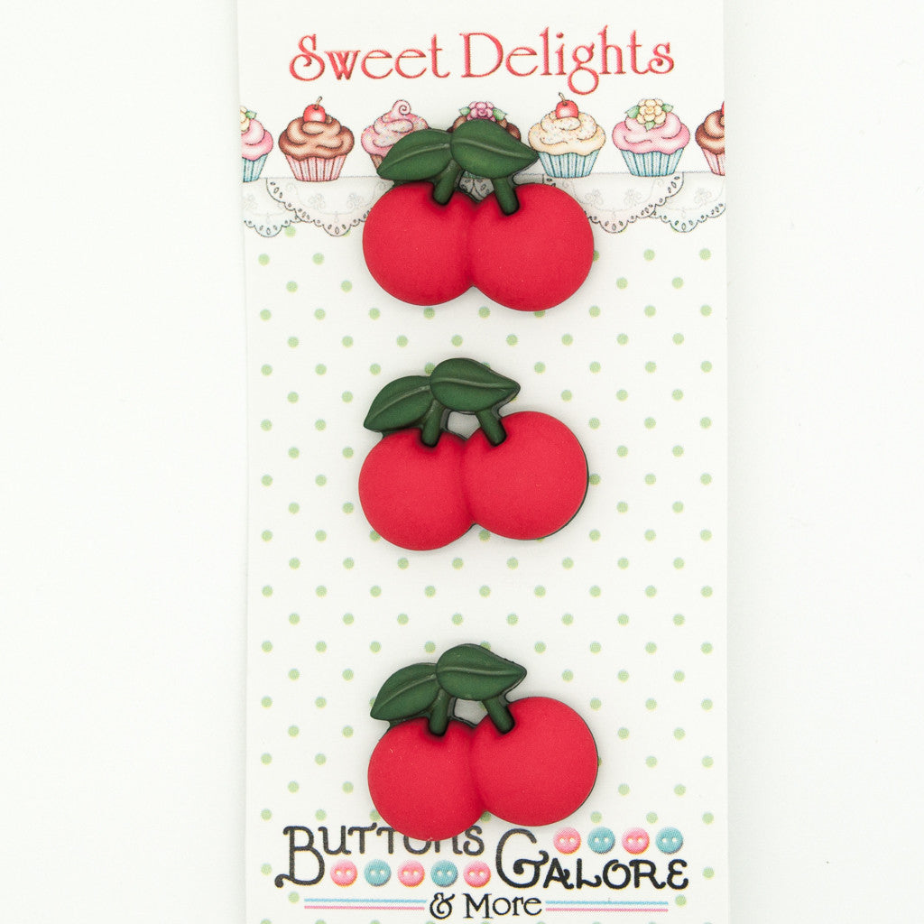Cherries - Buttons - Pack of 3
