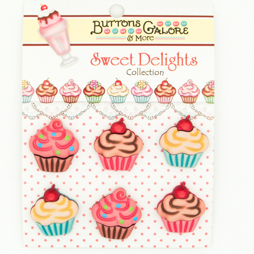 Cupcakes - Buttons - Pack of 6