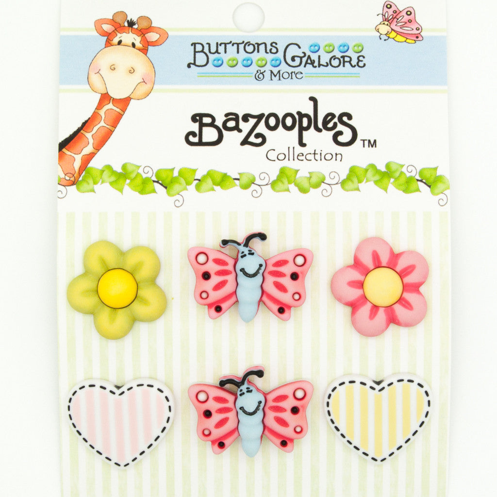 Flutterby Medley - Butterflies, Flowers & Hearts - Buttons - Pack of 6