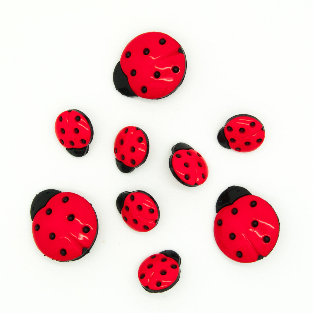 Ladybirds - Buttons - Pack of 9