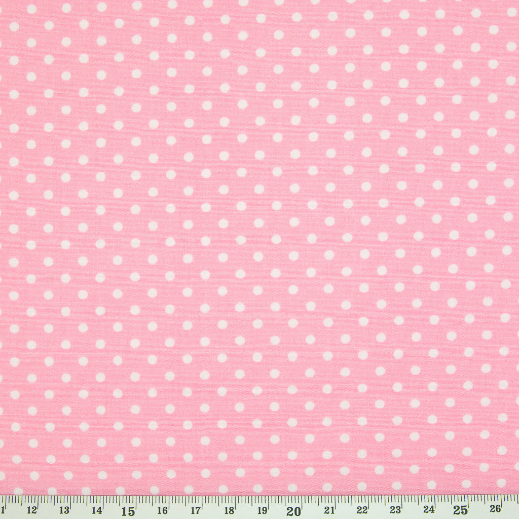Rose & Hubble White Mini Spot on Pink -  100% Cotton Poplin