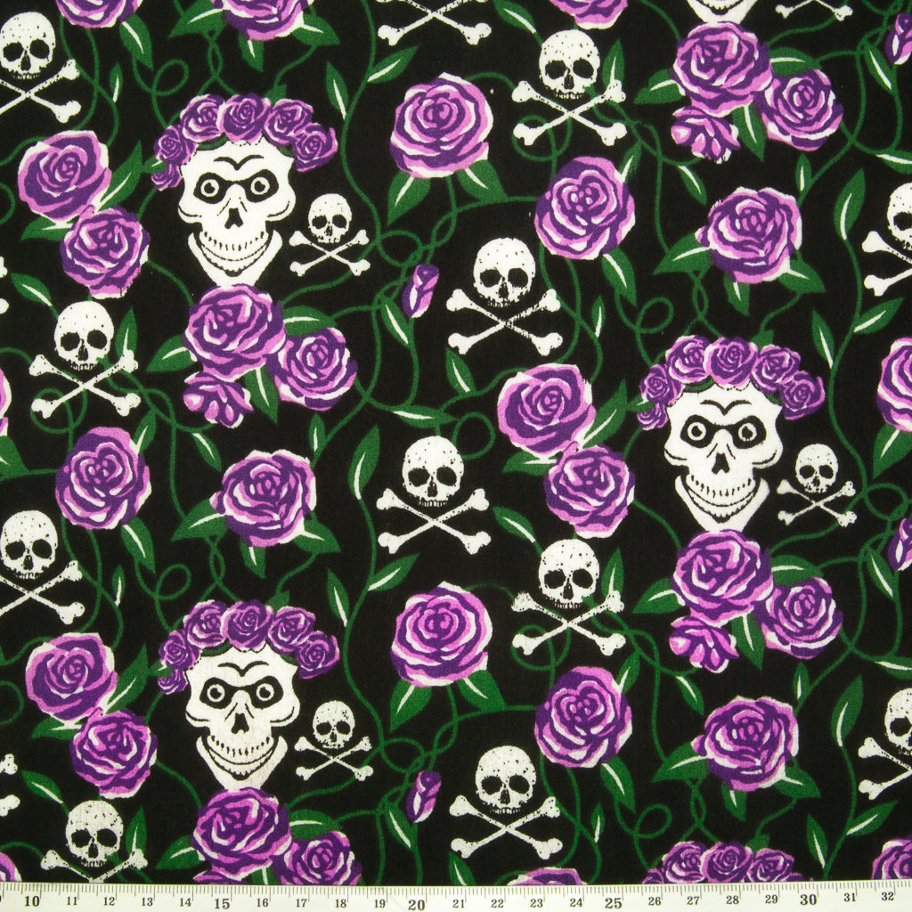 Skull & Purple Rose - Halloween Polycotton