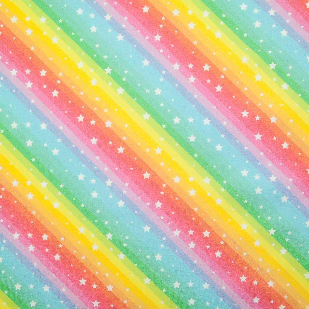Rainbow & Stars -  100% Cotton Fabric