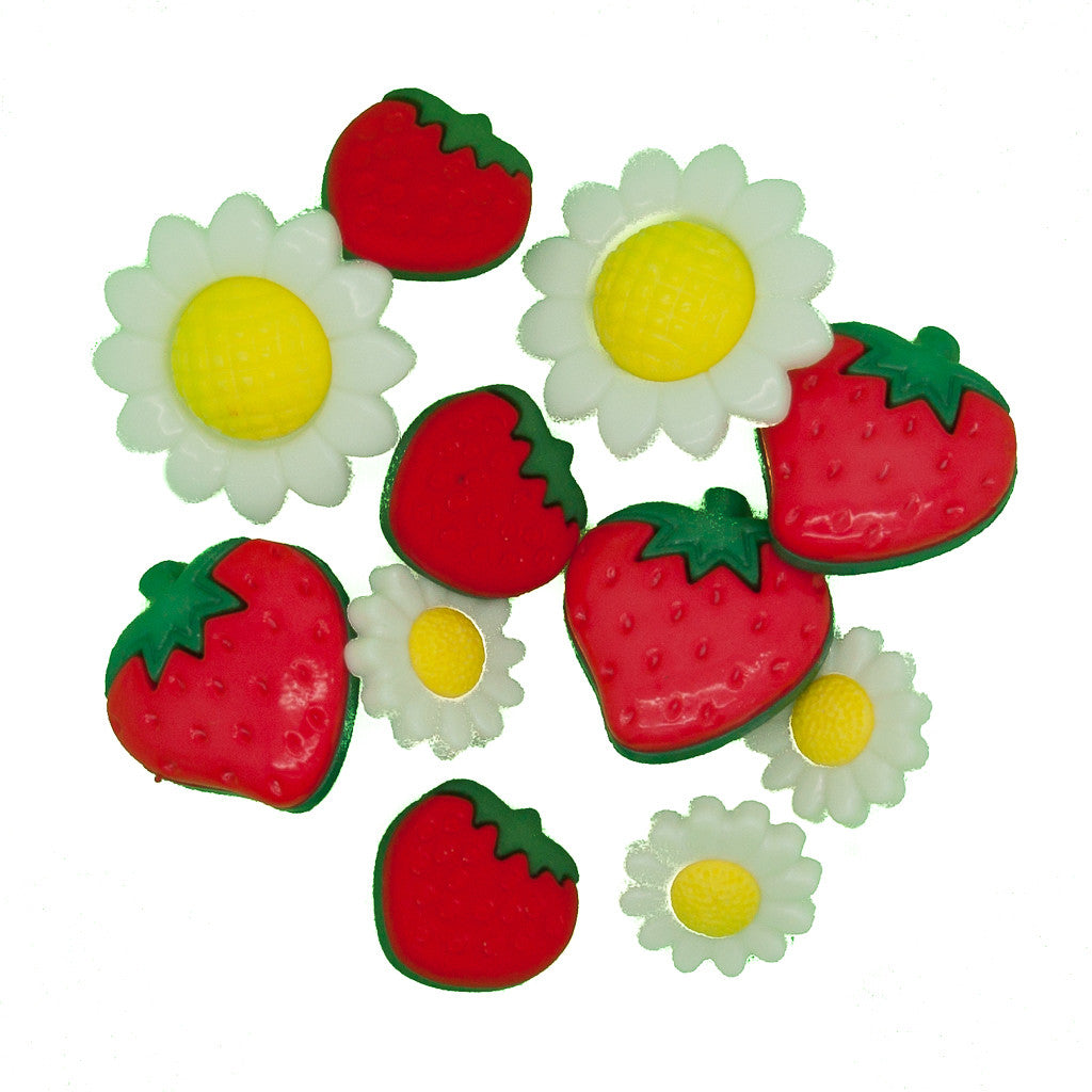 Strawberries & Daisies - Buttons - Pack of 11