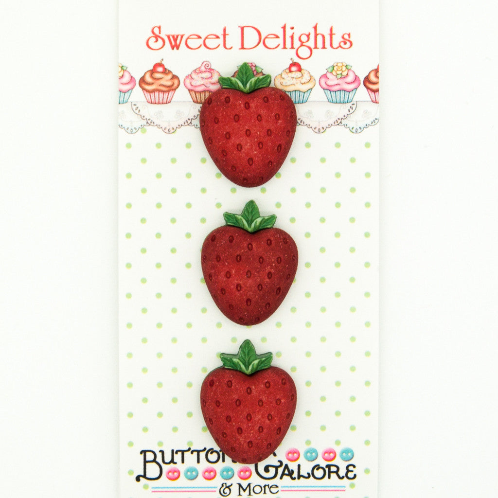 Strawberries - Buttons - Pack of 3