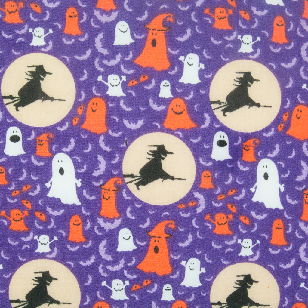Ghost & Witch on Purple - Halloween Polycotton