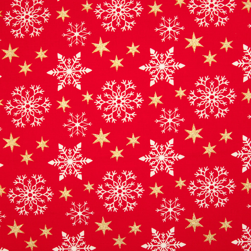 Christmas Glitter Cotton - Snowflake & Star on Red - 100% Cotton Fabric