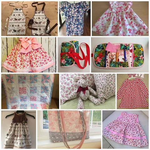 A collage of items made with cotton poplin fabric including dresses, aprons, a teddy bear and a bag