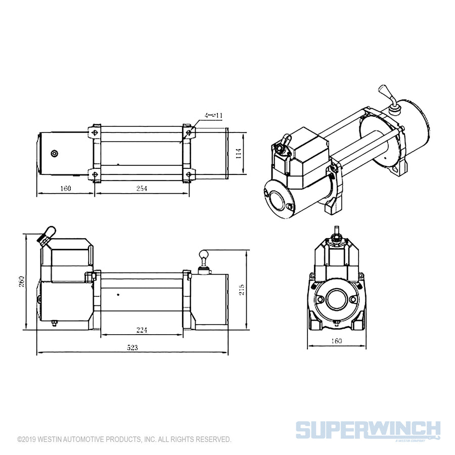 Superwinch LP 10000 12v Winch - Steel Cable - 1510200