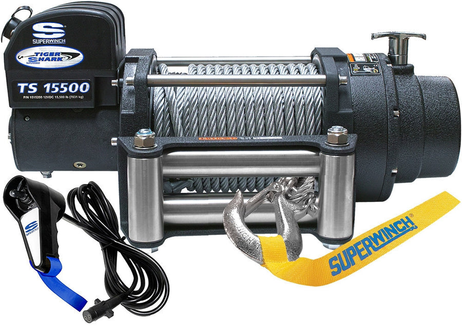 Superwinch Tiger Shark 15500 12v Winch - Steel Rope - 1515200