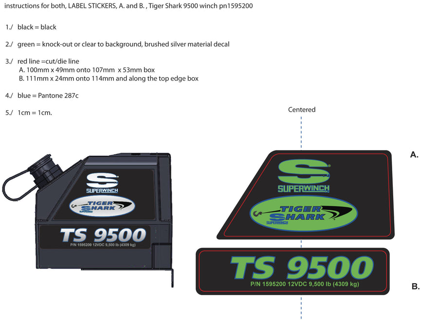 LABEL KIT TIGER SHARK 9500