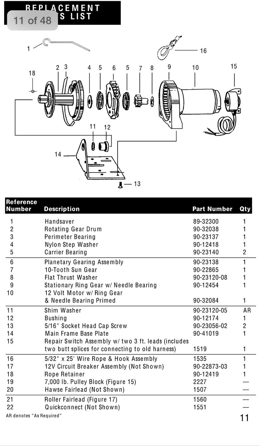 Superwinch replacement motor for EX1