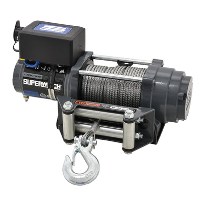 Superwinch Industrial S104097 SH1000 Hoist Kit 1,000 lbs, 12 VDC, standard drum, includes: hoist, remote control, wire rope, roller fairlead, mounting plate, fasteners and power cables