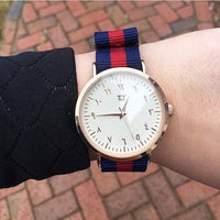 Rose Gold Arabic Classic/Red-Blue Nato