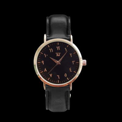 Rose Gold Arabic Classic Black/Black Leather