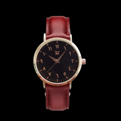 Rose Gold Arabic Classic Black/Brown Leather