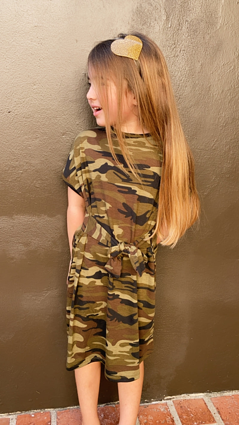 Kids Camo Belted Dress
