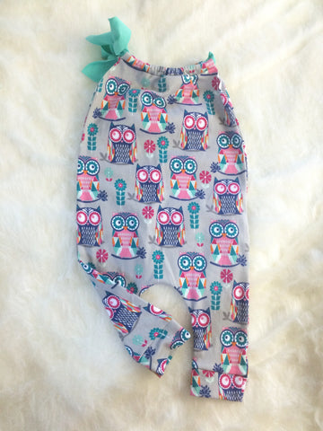 #605 || 2-3t || Owls Knit Romper Long