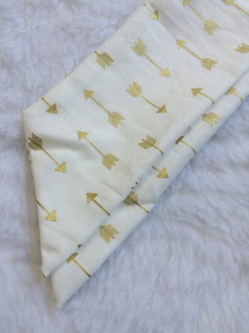 Gold Metallic Arrows Self-Tie Headwrap
