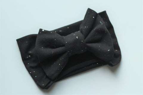 Black Sparkle Pre-Tied Headwrap