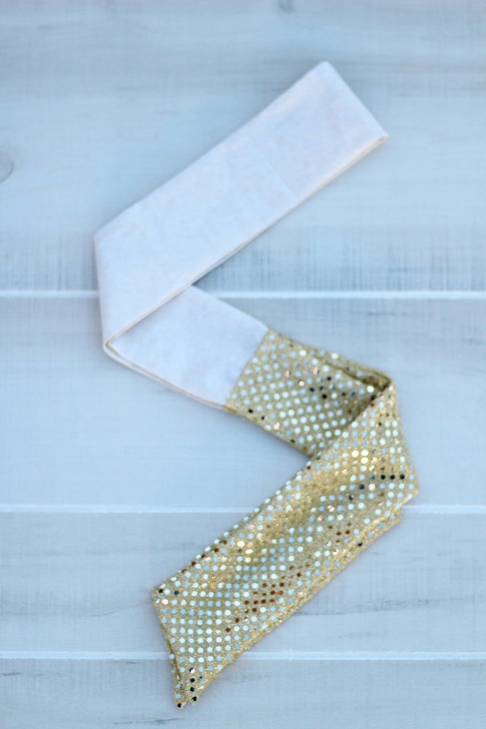 LIMITED EDITION Gold Glitter Sparkle Wrap Self-Tie Headwrap