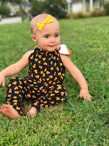 FLASH SALE || SHORT Candy Corn Knit Romper