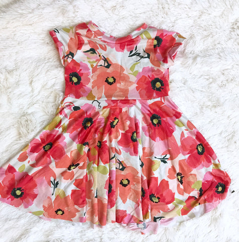 Watercolor Poppy Knit Twirl Dress