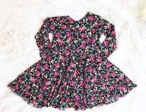 Purple Mini Floral Knit Twirl Dress