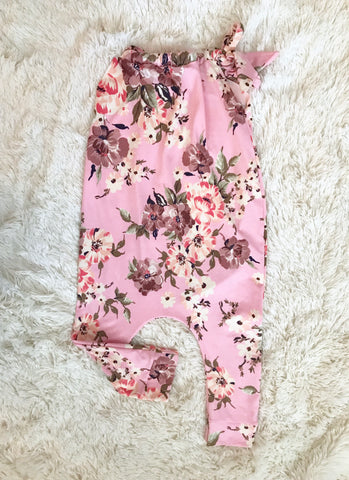 Sample || Double Brushed Poly Pink Floral Romper || 2-3t