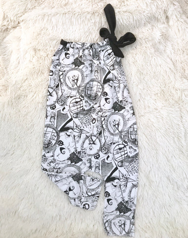 #57 || 12-24m || Nightmare Before Christmas B&W Knit Romper LONG