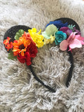 Rainbow Mouse Ears // One-of-a-kind Floral Crown