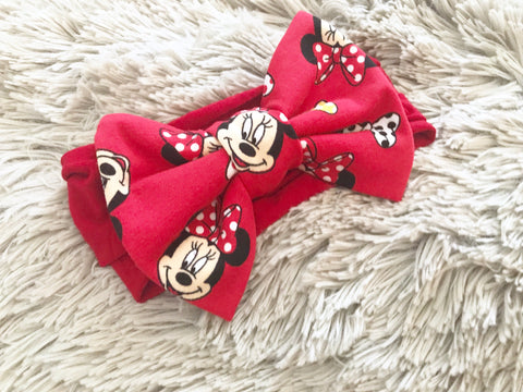 Red Minnie Mouse Pre-Tied Headwrap