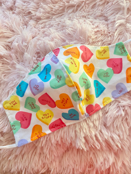 Conversation Hearts Face Mask