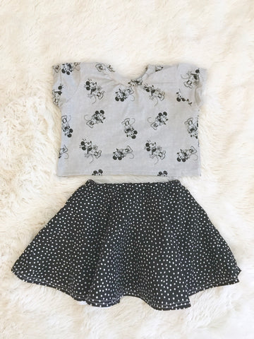 High-Waisted Lined Skirt || Black & White Dots