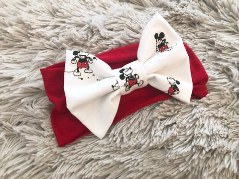 Black & White Mickey Pre-Tied Headwrap