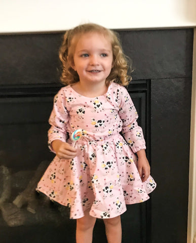 Pink Cows Sample Dress || 2t