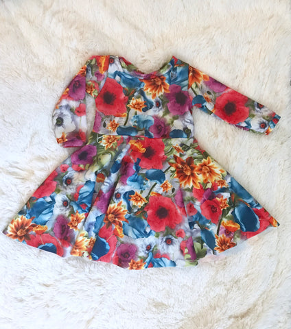 Bright Floral Knit Twirl Dress
