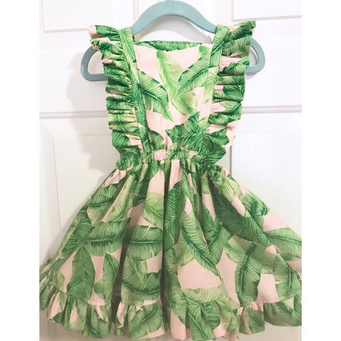 #176 || 2-3t || OOAK Pinafore Dress || Tropical Leaves