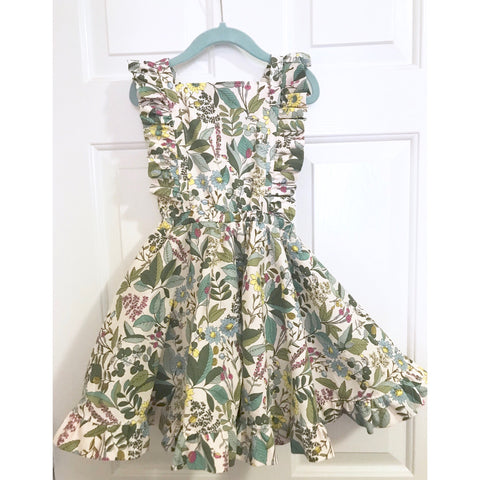 #175 || 5-6t || OOAK Pinafore Dress || Green Wildflowers