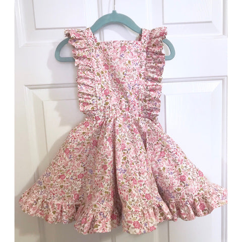 #173 || 2-3t || OOAK Pinafore Dress || Mini Pink & Purple Floral
