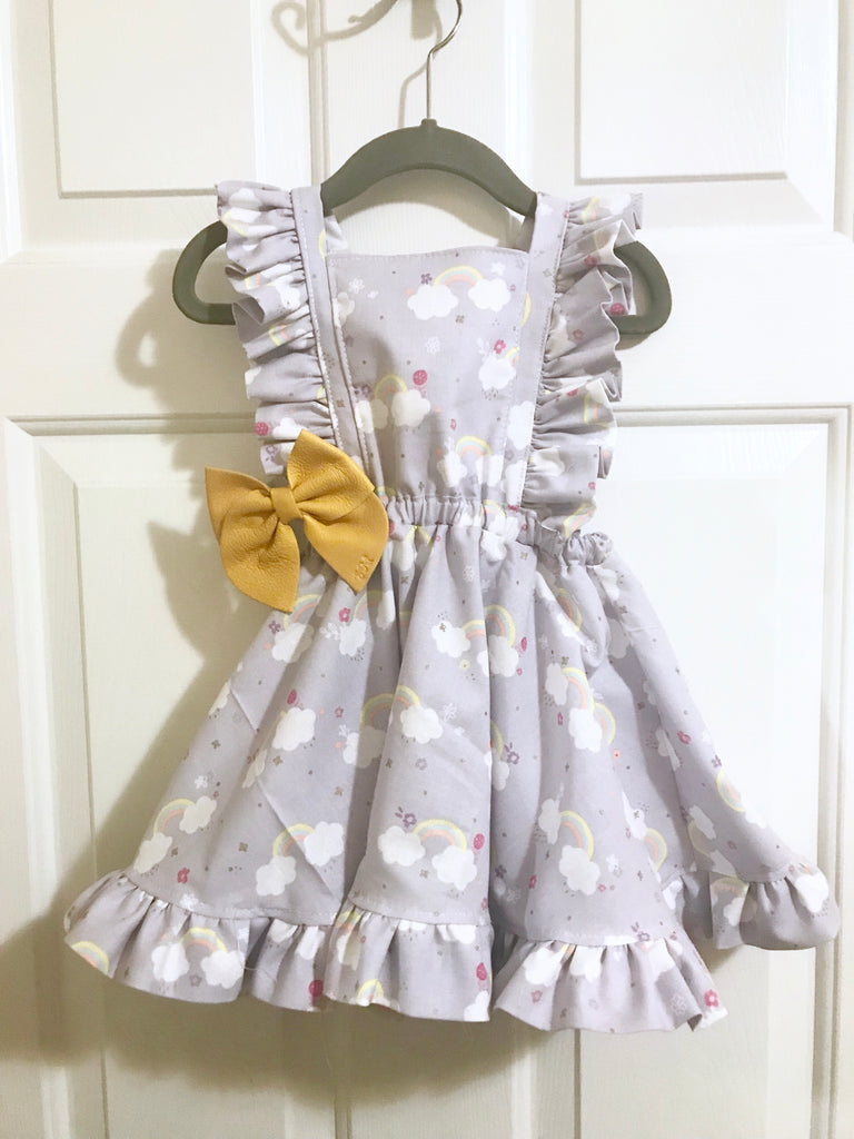 #172 || 2-3t || OOAK Pinafore Dress || Lavender Rainbows