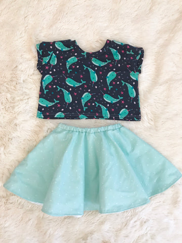 High-Waisted Lined Skirt || Mint & White Dots