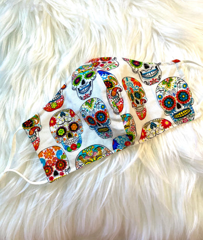 White Sugar Skulls Face Mask